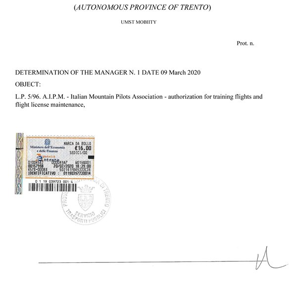 AIPM - Authorization for Training Flights and Flight License Maintenance 2020-2023